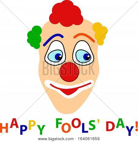 Smiling clown's head with color curly hair and color hopping letters phrase