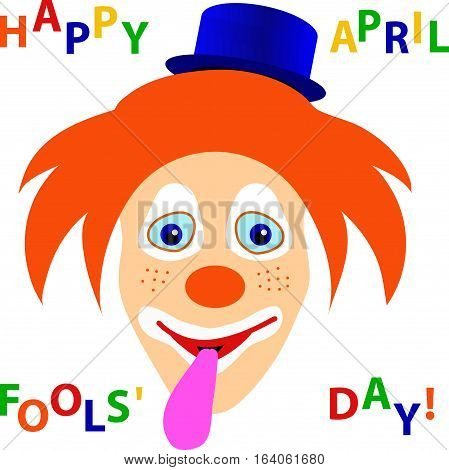Smiling clown's with orange shaggy hair, blue hat, protruding tongue and color hopping letters phrase