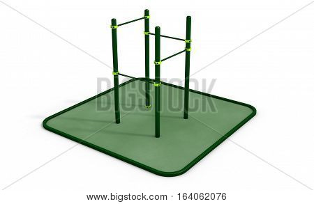 Parallel green bars at sports ground for workout on the white background