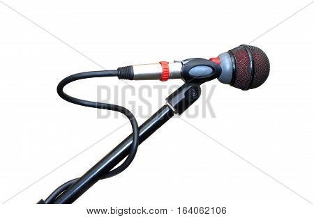 Vocal microphone isolated on white background. Side view close up