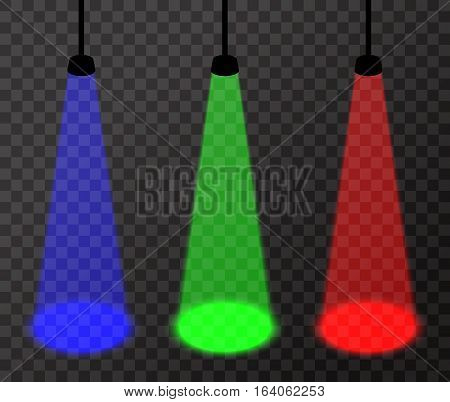 Three spotlights (red, green, blue) on transparent background, vector floodlights with bright spots on floor