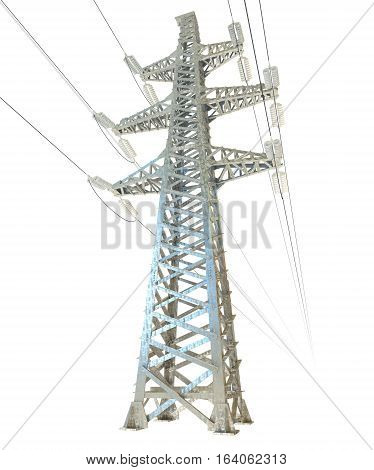 High voltage post. 3D illustration. Isolated on white background