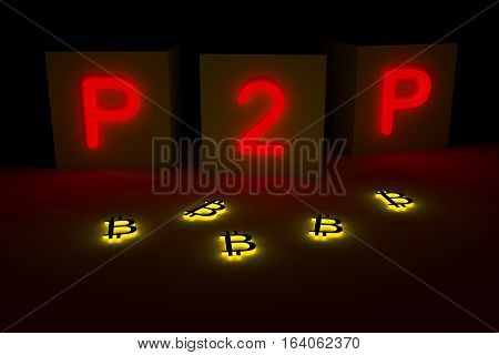 p2p in the form of a neon glow 3d illustration
