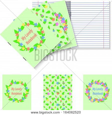 Three student books with simple pastel spring flowers and leaves garlands and pattern covers, natural wreath with circle place for your title, double pages paper sheet, vector illustration