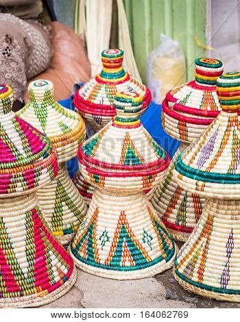 Ethiopian handmade Habesha baskets sold on a local market in Ethiopia.