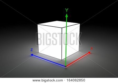 box with coordinate system shows a three-dimensional image neon glow 3d illustration