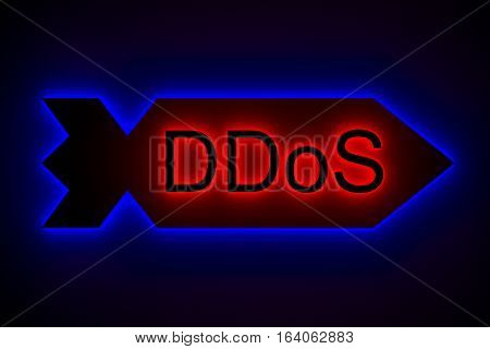 DDoS in the neon glow 3d illustration