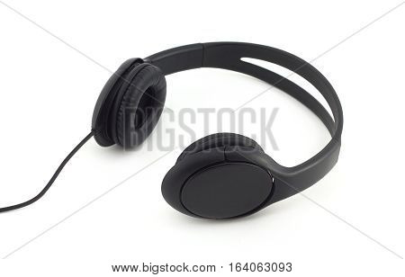 Black stereo headphones side view isolated on white background