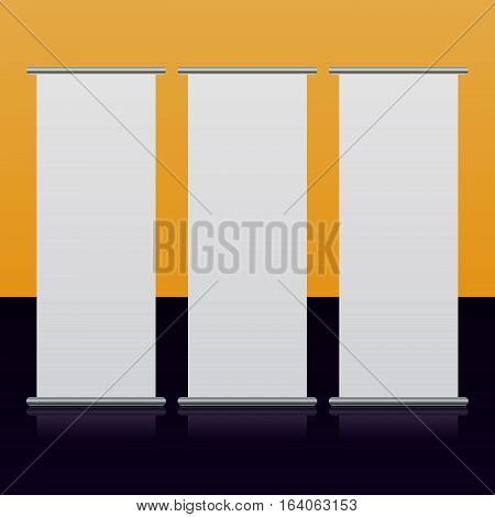Tree blank roll up banners, front view display white templates, realistic mockup, used for presentation, ad information, business reports, exposition, exhibition, vector illustration