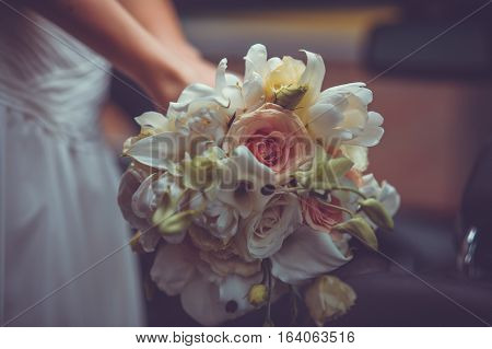 Bright Wedding Bouquet In Hands Of Bride