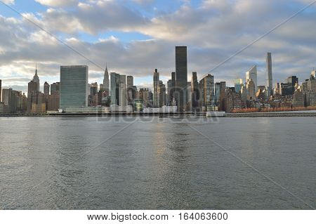 View of the Manhattan skyline with copy space.