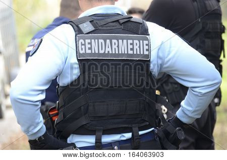 gendarme intervention uniform of a french policeman