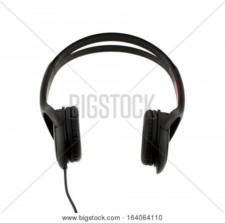 Black stereo headphones front view isolated on white background