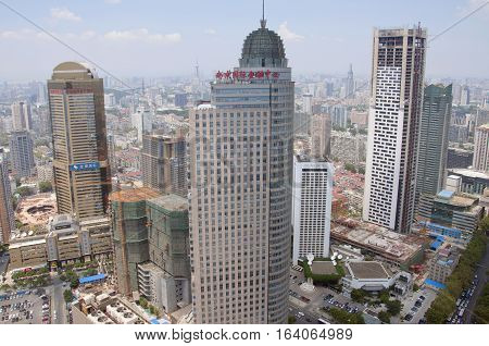NANJING, CHINA - AUG. 6, 2012: Aerial view of Nanjing City center skyline (Northwest), viewed from Xinjiekou CBD, Nanjing, Jiangsu Province, China.