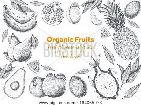 Fruits top view frame. Farmers market menu design. Healthy food poster. Vintage hand drawn sketch vector illustration. Linear graphic.