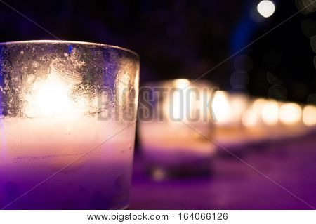 Beautiful lamps of candles in glass jars giving romantic candlelight for valentines dinner or diwali. Easy to make homemade decorations