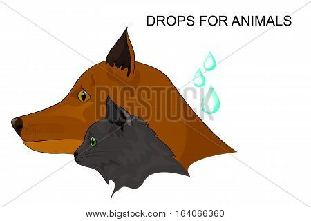 vector illustration of drops of fleas. for advertisements and publications