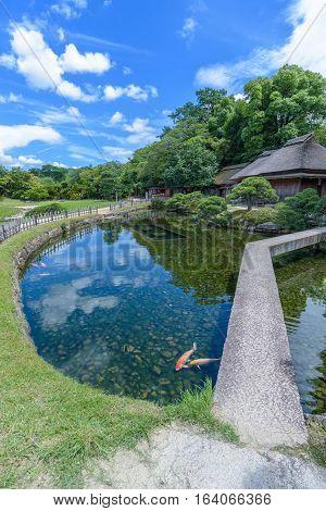 Korakuen Japanese garden in Okayama, Central of Japan