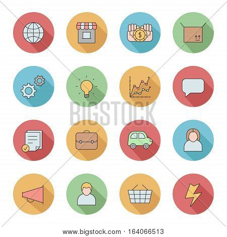 Outline business circle icons vector set. Clean and simple design. Part one.