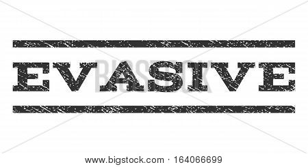 Evasive watermark stamp. Text caption between horizontal parallel lines with grunge design style. Rubber seal gray stamp with scratched texture. Vector ink imprint on a white background.