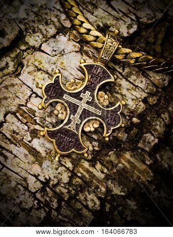 gold cross on a tree bark christianity, smutty, trust,
