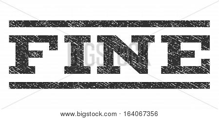Fine watermark stamp. Text caption between horizontal parallel lines with grunge design style. Rubber seal gray stamp with scratched texture. Vector ink imprint on a white background.
