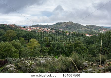 Panoramic view of  mountain Monsanto in Portugal