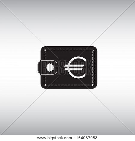 Wallet with euro vector flat sign. Isolated wallet icon. E-commerce symbol.