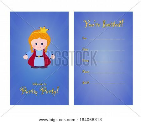 Invitation to purim party card invitation with Esther for children's party. Template of card invitation front and back page vector illustration.