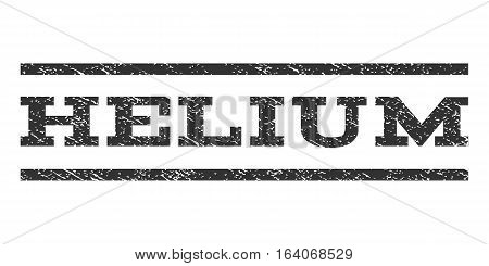 Helium watermark stamp. Text caption between horizontal parallel lines with grunge design style. Rubber seal gray stamp with dust texture. Vector ink imprint on a white background.
