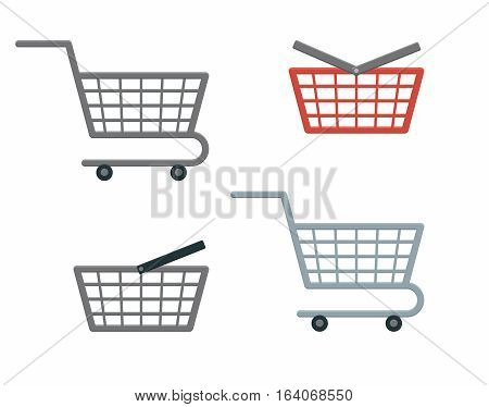 Isolated flat icons Shopping Cart and Basket