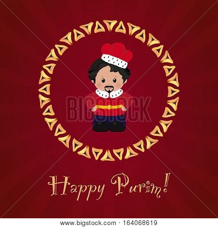 Jewish holiday of Purim. Greeting card with Achashverosh Happy Purim. Vector illustration of fun characters in cartoon style on dark red background.