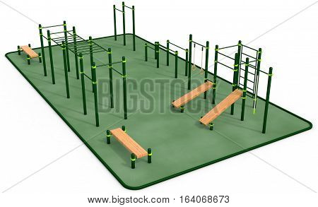 Parallel green bars at sports ground for workout on the white background. 3D rendering.