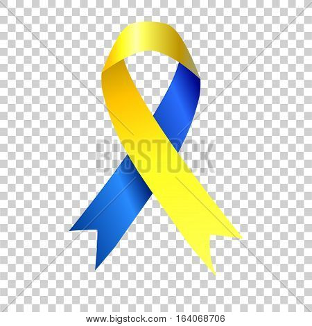 World Down Syndrome awareness sign. Blue and yellow ribbon on white background. Vector