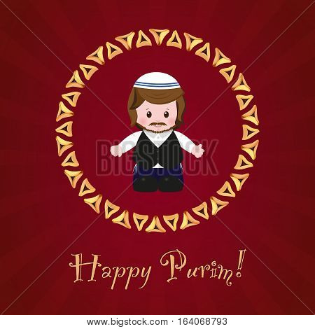 Jewish holiday of Purim. Greeting card with Mordecai Happy Purim. Vector illustration of fun characters in cartoon style on dark red background.