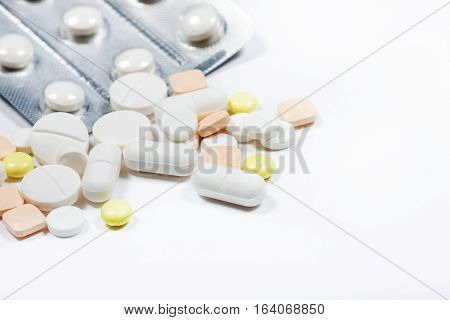 Pills Close Up On A Light Background.