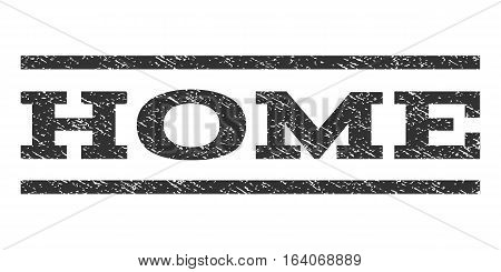 Home watermark stamp. Text tag between horizontal parallel lines with grunge design style. Rubber seal gray stamp with scratched texture. Vector ink imprint on a white background.