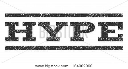 Hype watermark stamp. Text tag between horizontal parallel lines with grunge design style. Rubber seal gray stamp with dust texture. Vector ink imprint on a white background.
