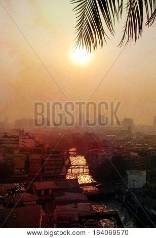 Photos background bright sunset over the buildings and river Bangkok