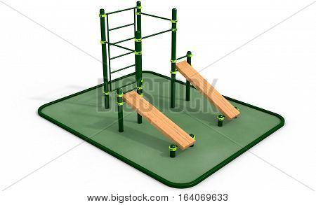 Parallel green bars with wood bench for press at sports ground for workout on the white background. 3D rendering.