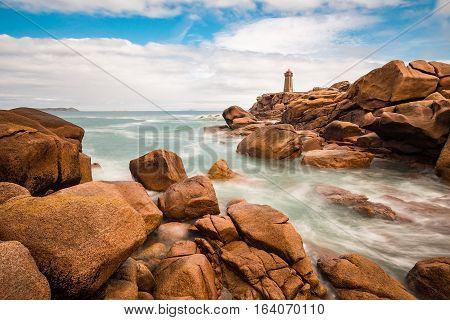 Pink Granite Coast in Brittany near Ploumanach France.
