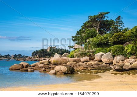 Pink Granite Coast in Brittany near Ploumanach France.