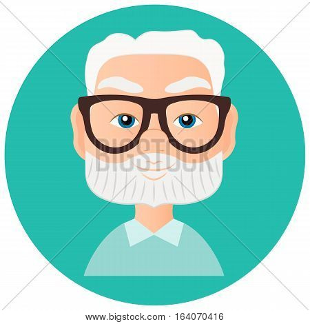 Grandfather Faces Avatar in circle. Vector illustration eps 10 isolated on white background. Flat cartoon style