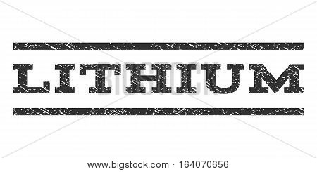Lithium watermark stamp. Text tag between horizontal parallel lines with grunge design style. Rubber seal gray stamp with dust texture. Vector ink imprint on a white background.