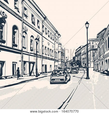 Street views of the city with historical buildings. Urban landscape. Monochrome vector illustration.