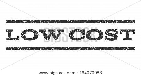 Low Cost watermark stamp. Text caption between horizontal parallel lines with grunge design style. Rubber seal gray stamp with scratched texture. Vector ink imprint on a white background.
