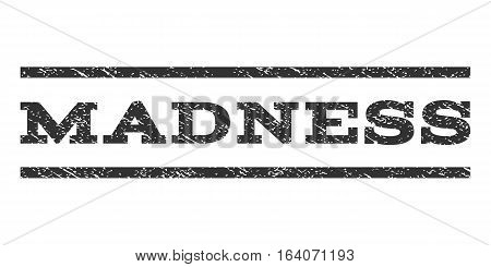 Madness watermark stamp. Text caption between horizontal parallel lines with grunge design style. Rubber seal gray stamp with unclean texture. Vector ink imprint on a white background.