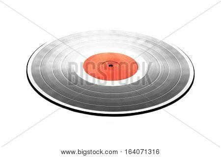 Single black long-play 33RPM vinyl record with red label isolated on white background. Front view to perspective