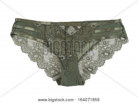 Dark green fishnet panties isolate on white