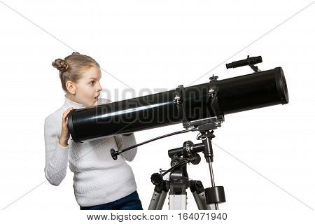 Child Looking Into Telescope Star Gazing Little Girl Isolated On A White Background